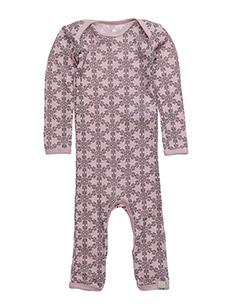 Jumpsuit LS AO-printed wool - LIGHT ROSE