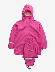 Basci rainwear set, solid - regntøy - real pink