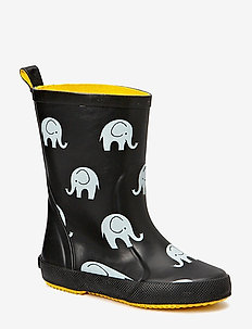Wellies w. elephant print - gummistiefel - black