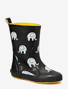 Wellies w. elephant print - rubberboots - black
