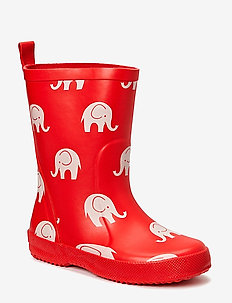 Wellies w. elephant print - rubberboots - red