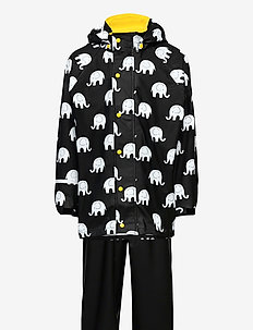 Rainwear set w. elepant print - sett & regndresser - yellow