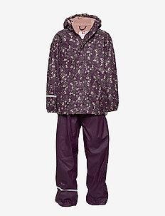 Rainwear -AOP w. fleece w. printed jacket - sets & suits - blackberry wine