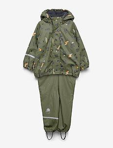 Rainwear -AOP w. fleece w. printed jacket - ARMY