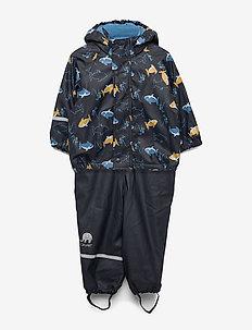 Rainwear -AOP w. fleece w. printed jacket - zestawy - navy