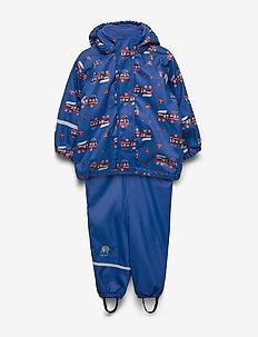 Rainwear -AOP w. fleece w. printed jacket - sets & suits - oceanblue