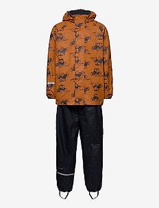 Rainwear Set  -AOP, w. fleece - ensembles - pumpkin spice