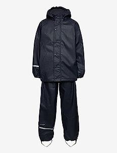Rainwear Set  Solid, w. fleece - sets & suits - navy