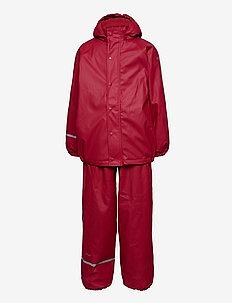 Rainwear Set  Solid, w. fleece - sets & suits - rio red