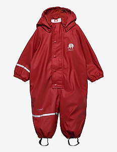 Rain Suit  -Solid, w. fleece - sett & regndresser - rio red