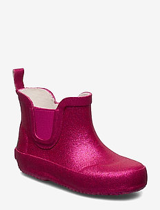 Wellies Short w. glitter - REAL PINK GLITHER