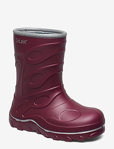 Thermal wellies -embossed - MAROON