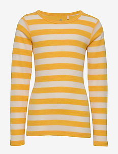 Blouse, LS - YD stripe Wonder wollies - MINERAL YELLOW