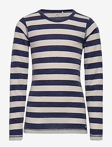 Blouse, LS - YD stripe Wonder wollies - NAVY