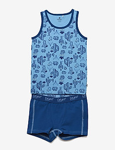 Underwear set w.boy print - underwear sets - dusk blue