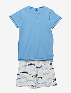 Pajamas w.AOP shorts - zestawy - offwhite melange