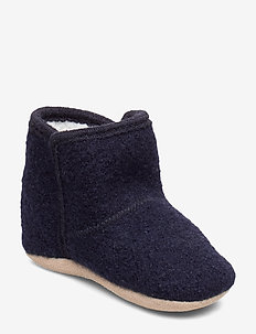 Baby Wool shoe - w. Fake fur - DARK NAVY
