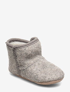 Baby Wool shoe - w. Fake fur - GREY MELANGE