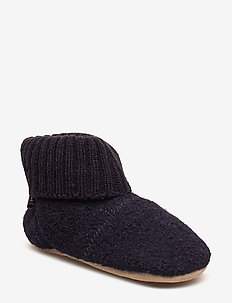 Baby Woolen shoe with knit cuf - DARK NAVY