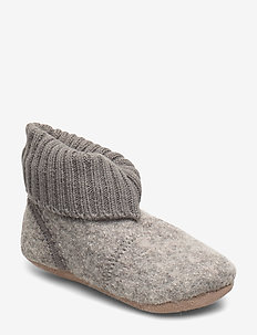 Baby Woolen shoe with knit cuf - GREY MELANGE