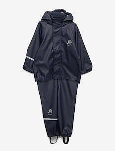 Basic rainwear set -solid PU - sett & regndresser - navy style 1145