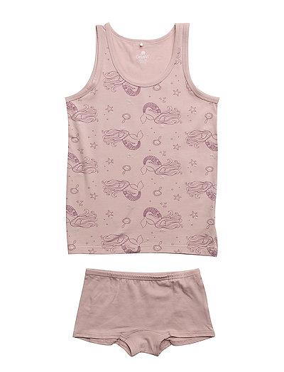 Underwear set - w. girl print - VIOLET ICE