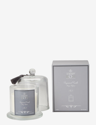Scented candle in a glas dome w tassel fragrance No.1 - geurkaarsen - grey