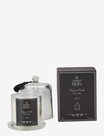 Scented candle in a glas dome w tassel fragrance No.2 - geurkaarsen - black