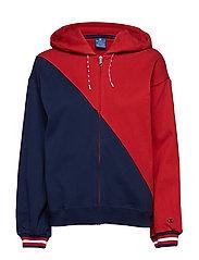 Hooded Full Zip Sweatshirt - RED