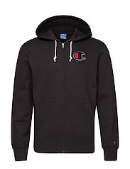 Hooded Full Zip Sweatshirt - BLACK