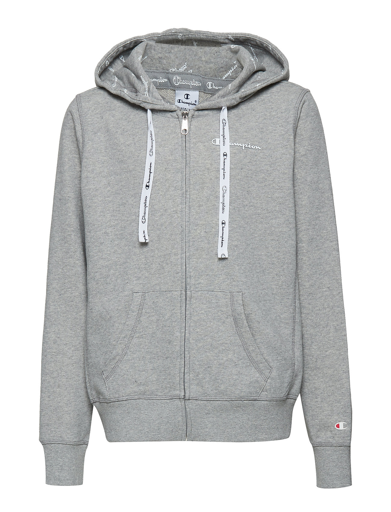 Champion Hooded Full Zip Sweatshirt - GRAY MELANGE LIGHT