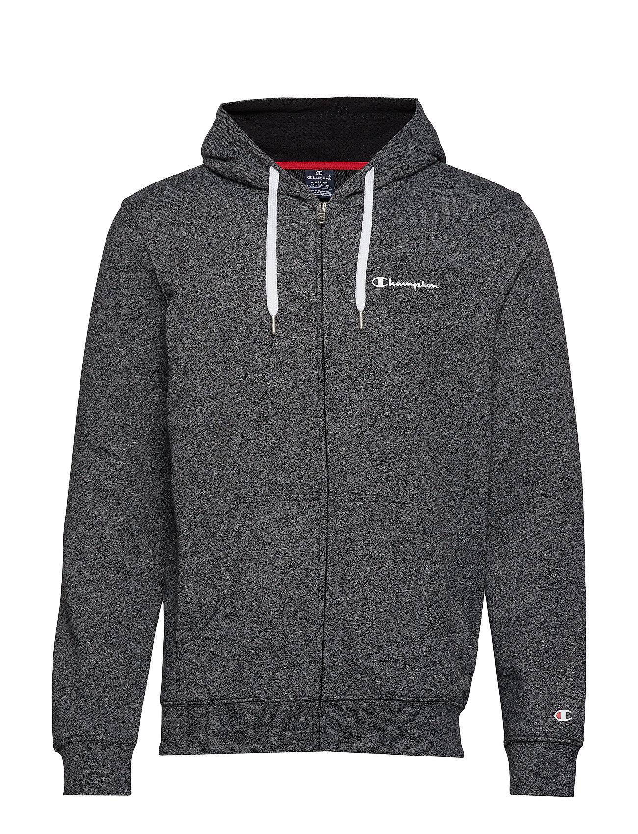 Champion Hooded Full Zip Sweatshirt - WHITE BLACK JASPE MELANGE