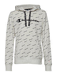 Hooded Sweatshirt - LIGHT GREY BLACK DOTS MELANGE AL