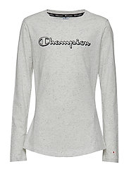 Long Sleeve Crewneck T-Shirt - LIGHT GREY BLACK DOTS MELANGE