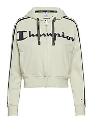 Hooded Full Zip Sweatshirt - WHITE ASPARAGUS
