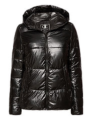 Hooded Polyfilled Jacket - BLACK BEAUTY