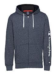 Hooded Full Zip Sweatshirt - WHITE BLACK JASPE MELANGE