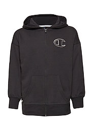 Hooded Full Zip Sweatshirt - BLACK BEAUTY