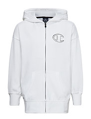 Hooded Full Zip Sweatshirt - WHITE