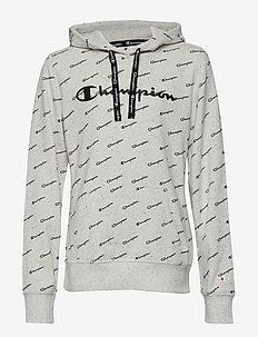 Hooded Sweatshirt - LIGHT GREY BLACK DOTS MELANGE AL