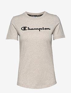 Crewneck T-Shirt - logo t-shirts - sahara beige melange yarn dyed