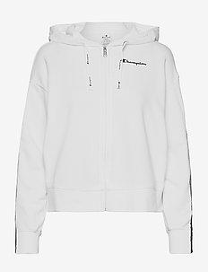 Hooded Full Zip Sweatshirt - hoodies - white