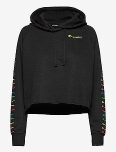 Hooded Crop Top - bluzy z kapturem - black beauty