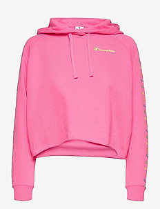 Hooded Crop Top - kapuzenpullover - knochout pink fluo