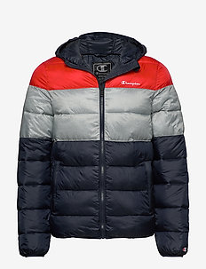 Hooded Jacket - athleisure jackets - red/grey/blue