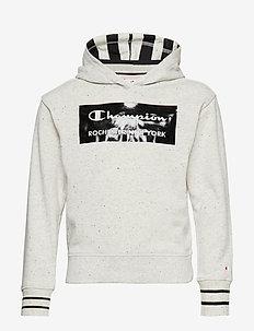 Hooded Sweatshirt - LIGHT GREY BLACK DOTS MELANGE