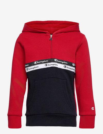 Hooded Half Zip Sweatshirt - bluzy z kapturem - haute red