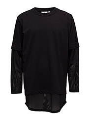 Fake mesh ls tee - BLACK