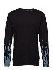 Flames ls tee Flames sleeve - BLACK