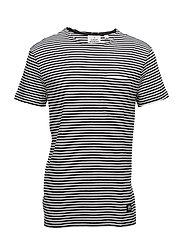 Standard cut tee Small stripe - BLACK/WHITE